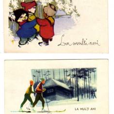 FELICITARE LILIPUT LA MULT ANI SCHIORI COLINDATORI - Carte Postala Transilvania dupa 1918, Circulata, Printata