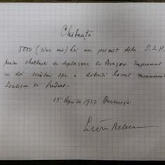 LIVIU REBREANU, CHITANTA DE MANA, 15 VI 1927 BUCURESTI
