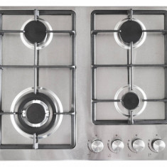 Plita incorporabila Pyramis 60BAZX ECOLINE Gaz 4 arzatoare gratare fonta Inox, Argintiu, Numar arzatoare: 4