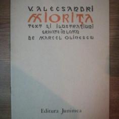 MIORITA de V. ALECSANDRI, TEXT SI ILUSTRATIUNI GRAVATE IN LEMN DE MIRCEA OLINESCU, 1984 - Carte Fabule