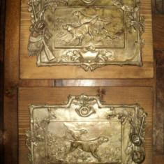 Vanatoare, panouri decorative metal argintat pe lemn, cca 1900 - Pictor roman