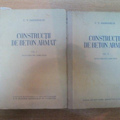 CONSTRUCTII DE BETON ARMAT VOL I, II de C.V. SAHNOVSCHI, 1951 - Carti Mecanica