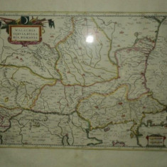 Valahia, Serbia, Bulgaria, Romania, Willem Janszoon Blaeu, dupa Mercator 1640 - Harta Romaniei