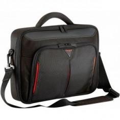 Targus Geanta notebook 18 inch Classic+ Clamshell Black/Red - Geanta laptop Targus, Poliester, Negru