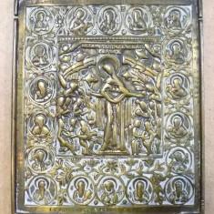 ICOANA BRONZ, ACOPERAMANTUL MAICII DOMNULUI, RUSIA, SECOL XIX - Pictor roman