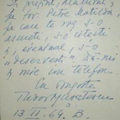 TUDOR MUSATESCU, NOTA CATRE RODICA