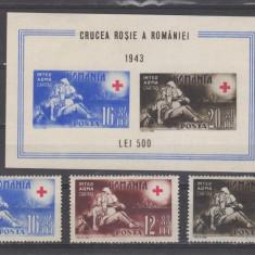 Romania 1943 Crucea Rosie + colita - Timbre Romania, Medical, Nestampilat