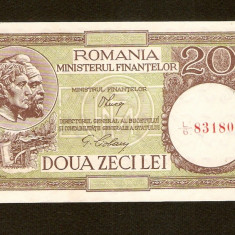 20 Lei 1947 - 1950 UNC, Luca / CIOBANU, fil. RPR de la stg la dreapta - Bancnota romaneasca
