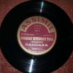 "Assimil -Limba engleza fara efort -11 discuri de 7"" - 33 RPM vinil vinyl - Muzica Ambientala"