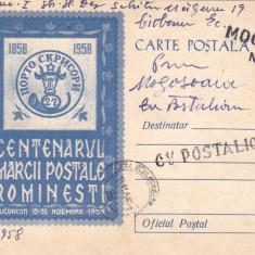CENTENARUL MARCII POSTALE ROMANESTI,PC CIRCULAT CU POSTALIONUL,1958,ROMANIA.