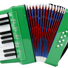 Acordeon pentru copii, 17 clape, 23 x 10 x 22 cm (inchis), verde