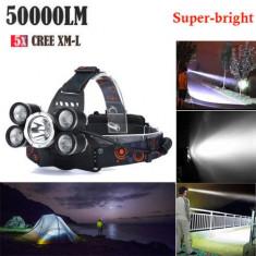 Lanterna de cap cu 6 led 1 cree xml t6 4 cree xpe 1 smd 50.000lm