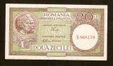 20 Lei 1947 - 1950 ,  AUNC ,  Luca / Rubicec , fil.  RPR  vertical. Fil 36
