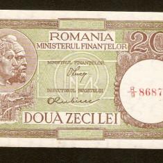 20 Lei 1947 - 1950, AUNC, Luca / Rubicec, fil. RPR de jos in sus . - Bancnota romaneasca