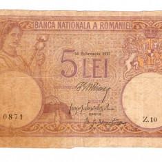 ROMANIA 5 LEI Februarie 1917 fagure . Varianta MARE, cu marginile taiate . - Bancnota romaneasca