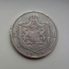 SV * Romania 5 LEI 1884 Carol I 25 grame ARGINT .835 - Moneda Romania