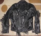 Geaca rock chopper/moto/motor/biker/motociclist ,piele groasa,fermoare,marimea L, Negru