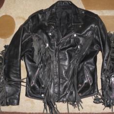 Geaca rock chopper/moto/motor/biker/motociclist, piele groasa, fermoare, marimea L - Geaca barbati, Marime: L, Culoare: Negru