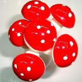 Ciupercute rosii decorative cu sarma, diametru 3 cm, 6 buc/set