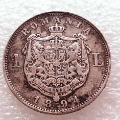 1 LEU 1894-ARGINT-CAROL I REGE-DE COLECTIE - Moneda Romania