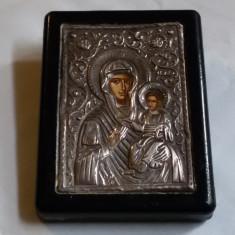 ICOANA argint RUSIA veche FECIOARA MARIA cu PRUNCUL ISUS superba SPLENDIDA rara - Icoana din metal