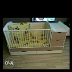 Patut transformer bebe design - Patut lemn pentru bebelusi Baby Design, 140x70cm, Crem