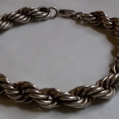 BRATARA argint IMPLETITA veche MASIVA splendida SUPERBA de efect VINTAGE - Bijuterie veche