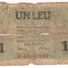 ROMANIA 1 LEU BGR 1917 U - Bancnota romaneasca