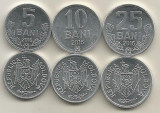 MOLDOVA  SET /  LOT 3 buc :  5 BANI + 10 BANI + 25 BANI 2016 ,  a UNC, Europa, Aluminiu