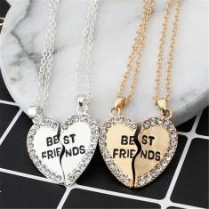 Pandantiv / Colier / Lantisor BEST FRIENDS inima cu strasuri gold - Pandantiv fashion