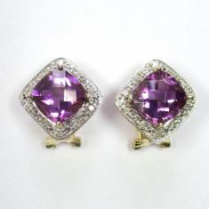 Cercei Aur Vintage 14K Piatra Ametist Si Diamante - Cercei cu diamante