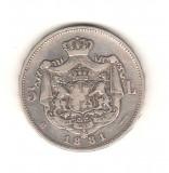 SV * Romania  5  LEI  1881 * Regele Carol I * ARGINT .835 * 5 STELE*****   +/-VF