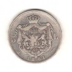 SV * Romania  5  LEI  1881   Regele Carol I     ARGINT .835   5 STELE *****   VF
