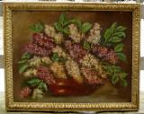 Cumpara ieftin Vas cu liliac Natura statica cu flori tablou pictura in ulei inramat 43x53 cm