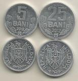 MOLDOVA  SET /  LOT 2 buc :  5 BANI + 25 BANI 2012 ,  a UNC, Europa, Aluminiu