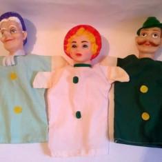 Lot 3 marionete teatru papusi, papusa manuala Scufita Rosie, Bunica, Vanatorul - Jucarii plus