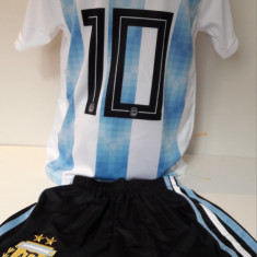 Echipament fotbal pentru copii Argentina Messi model nou 2018, Marime: Alta
