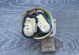 Pandantiv / Colier / Lantisor – tip dog tag cu 2 placute – auriu