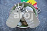 Pandantiv / Colier / Lantisor – tip dog tag cu 2 placute – argintiu