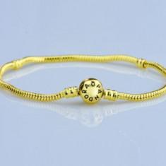 Bratara PANDORA gold 20cm + talisman charm INIMA cadou - Bratara argint pandora, Femei