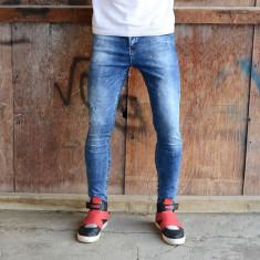 Blugi barbati conici albastri simpli cu pete elastici slimfit  skinnyfit