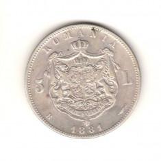 SV * Romania 5 LEI 1881 Carol I < REGE cu G lat > ARGINT .835 VF++ - Moneda Romania