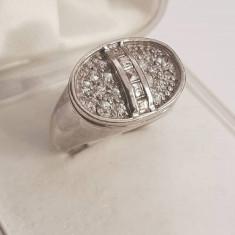 Inel din argint cu ametist si zirconii. Masura 16 - Inel argint