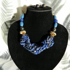 Set colier si cercei torsada lapis lazuli (11) - Set bijuterii handmade si fashion