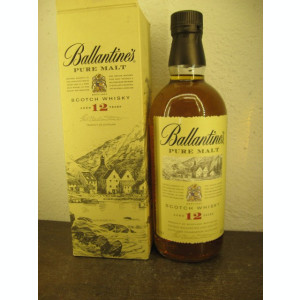 RARE PURE MALT  SCOTCH WHISKY, ballantines, PURE MALT AGED 12 YEARD cl 70 gr 40
