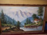 Tablou vechi pictat pe panza,pictura veche MARE 89 cm/1,39,TABLOU de COLECTIE