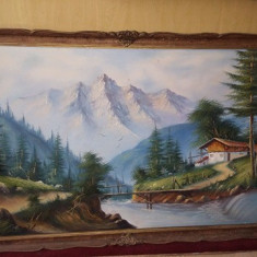 Tablou vechi pictat pe panza,pictura veche MARE 89 cm/1,39,TABLOU de COLECTIE, Peisaje, Ulei, Realism