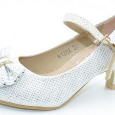Pantofi cu toc pentru fete MRS R1282A, Alb
