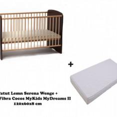 Patut copii Serena cu saltea MyDreams II 120x60x8 Wenge MyKids - Patut lemn pentru bebelusi