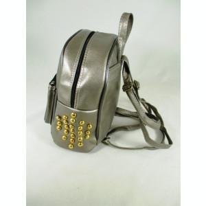 Rucsac/ghiozdan dama gri argintiu cu capse+CADOU
